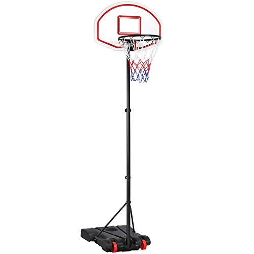 YAHEETECH Portable Basketball Hoop System 5.2-7 ft Height Adjustable Basketball Stand for Kids Youth Indoor/Outdoor w/Wheels 29 Inch Backboard Basketball Goals