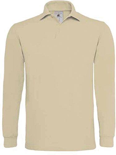 B&C Langarm-Poloshirt 'Heavymill LS' HVYML LSL [PU423] XL,Sand