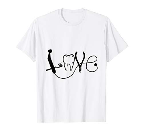 Lustiges Liebe Zahnarzt Love T-Shirt Zahnarzthelferin Shirt