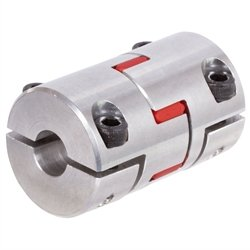 Elastic coupling RNH with half shell clamps backlash-free size 24 max. torque 40Nm boreholes 20mm outer diameter 55mm overall length 78mm insert 98° shore red