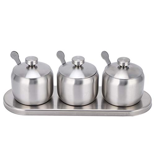 Seasoning Pot Set 304 Stainless Steel Seasoning Containers Set Condiment Spice Salt Sugar Pepper Bottle Container Storage Organizers