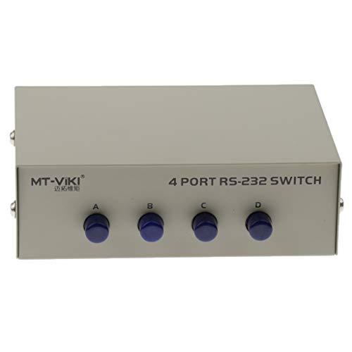 IPOTCH Conmutador RS-232 Manual de 4 Puertos con Carcasa Metálica para Compartir PC con Un Dispositivo en Serie