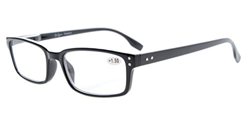 Eyekepper Klassische Qualitätslesebrille rechteckige Fassung mit Federscharnier in Schwarz +0.75