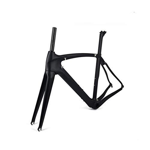 PPLAS 700C Full Carbon Road Bike Frame DI2 Machinery Racing Bicycle FrameSet Marco de Bicicleta Soporte (Color : Matte 55cm)