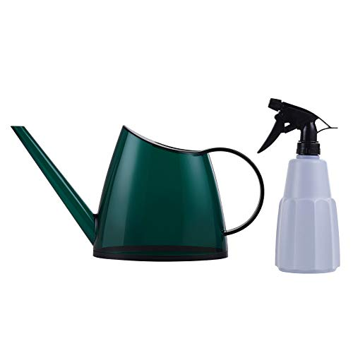 TDHDIKE Indoor Watering Can Long Spout, Nordic Style Garden Small Watering Cans with a Plant Mister Spray Bottle for Watering Plants and Potted Flowers (Green)