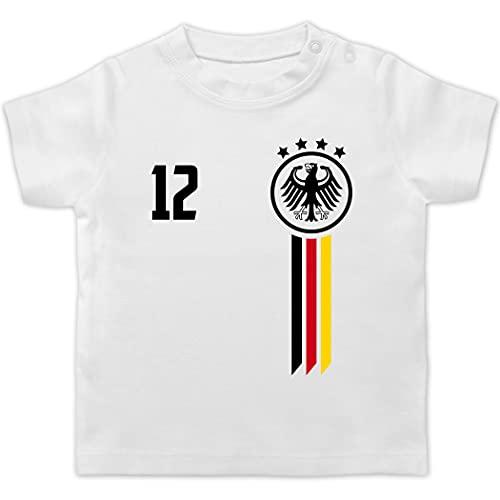 Fussball EM 2021 Fanartikel Baby - 12. Mann Deutschland EM - 1/3 Monate - Weiß - Shirt wm 2018 Baby - BZ02 - Baby T-Shirt Kurzarm