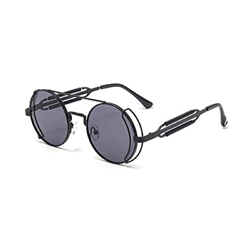 DLSM Steampunk Gafas de Sol Masculina Metal Gafas de Sol Masculina Tendencia para Hombres Mujeres Running Ciclismo Pesca de Pesca Golf-Gris Oscuro
