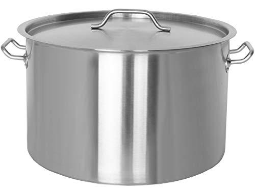 Beeketal 'BKT-83' Gastronomie Kochtopf ca. 80 Liter aus Edelstahl mit starken Griffen und Deckel, Topf für alle Herdarten geeignet (Induktion, Gas, Glaskeramik), ideal als z.B. Suppentopf