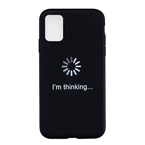 Everainy Funda Compatible para Samsung Galaxy A02s Silicona Carcasa Creativo Dibujos Motivo Suave Goma Bumper Delgado Ultrafina Negro Tapa Antigolpes Case Cover (I'm Thinking)