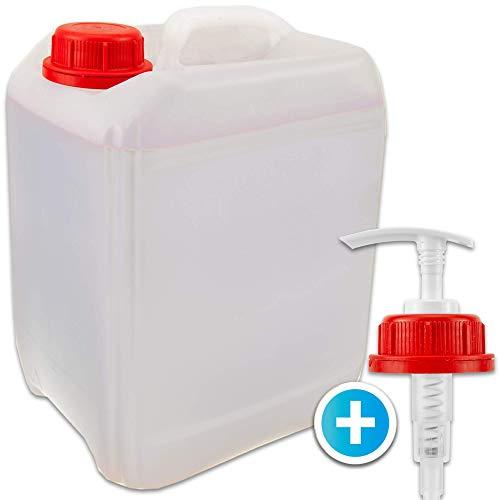 Kanister leer 5 Liter + Dosierspender – lebensmittelecht Qualität – auch für Seife, Reinigungsmittel, Körperpflegeprodukte, Öl, Soßen, Sirup & Getränke