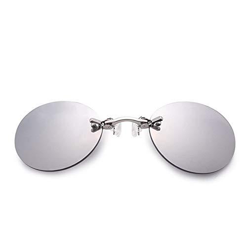 PPLAX Sin Montura Gafas de Sol Clip de Punta Redonda de la Lente Gafas de Moda sin Marco de la Vendimia de los Hombres de Las Lentes UV400 Gafas de Controladores (Color : Sliver)