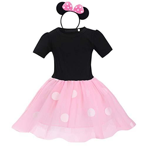 Disfraz de princesa para nia con lunares, falda con tut con diadema, disfraz de carnaval, cosplay, cumpleaos, fotografa. Negro + rosa. 2-3 Aos