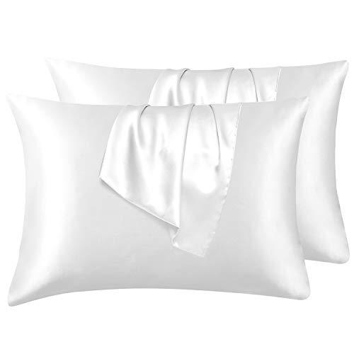 Hansleep Funda Almohada 50x75cm de Satén Blanco, Sedoso estándar para 4 Piezas, con Cierre de sobre, Muy Liso Suave de 100% Microfibra, Belleza Facial, Cuidado de la Cara, hipoalergénico