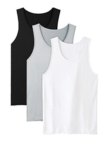 DAVID ARCHY Men's Bamboo Rayon Undershirts Crew Neck Tank Tops 3 Pack (S, Black/White/Light Gray)