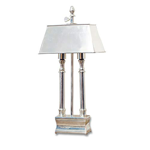 Loberon Tischlampe Pantin, Messing, H/B/T 46/21 / 13 cm, silber, E14, max. 25 Watt, A++ bis E