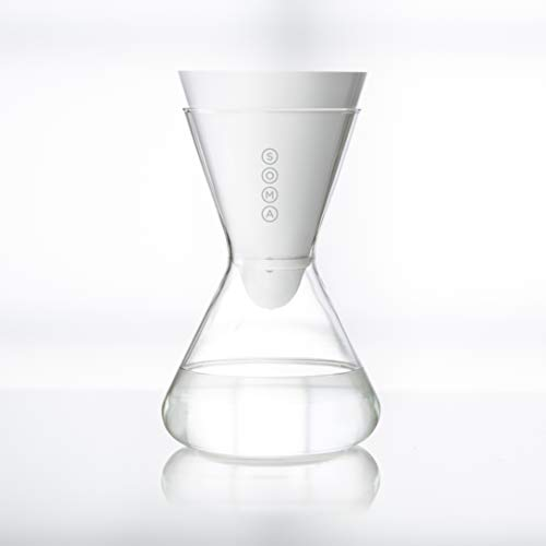 Soma Carafe Plant-Based Water Filtration, 6-Cup Glass, White
