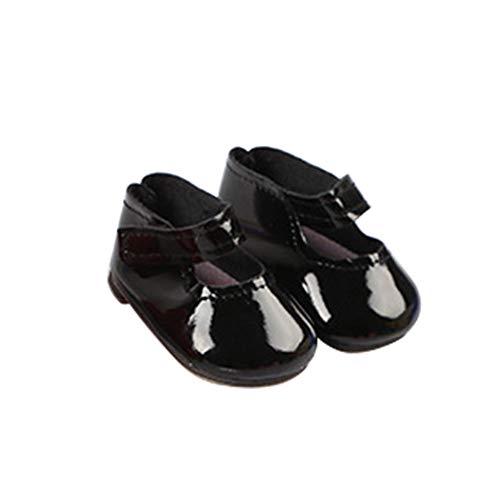 Zapatos de muñeca 18 Pulgadas Mini PU Moda DIY Chica Juguete Decoración Ligera Botas Diseño Bebé Accesorios Lindos Regalo Sólido(Negro)