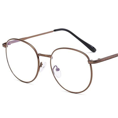 Computergame-leesbril, anti-blauw licht, anti-straling, UV400, vermindert vermoeidheid van de ogen - platte spiegel van 80% retro graden. Bronzen frame.