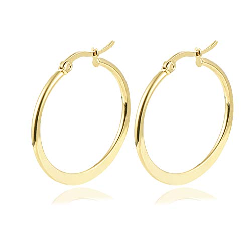 Yumay 9ct Yellow Gold Hoop Earrings for Women,30MM Round Click-Top Earrings for Girls.