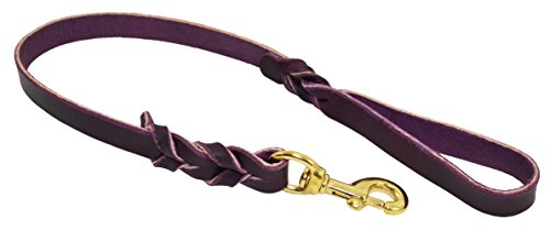 J&J Dog Supplies L434-PUR Braided Leather Dog Leash, Purple, 3/4' Wide by 4' Long