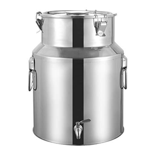 Jarra de leche de acero inoxidable con tapa sellada Heavy Duty con cabezal de rueda de agua, cubo de vino, bidón (tamaño: 28 L)