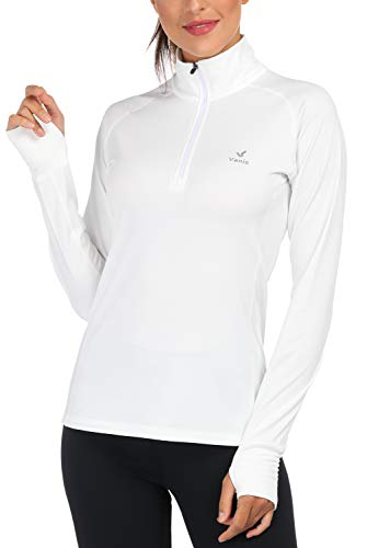 Women's Yoga Jacket 1/2 Zip Pullover Thermal Fleece Athletic Long Sleeve Running Top with Thumb Holes (White, X-Large)