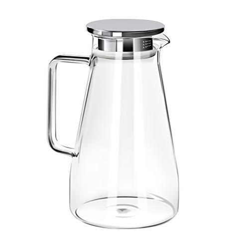 G.a HOMEFAVOR Krug Glass Karaffe 1500ml Glasskaraffe Wasser Saft Tee mit Edelstahl Deckel
