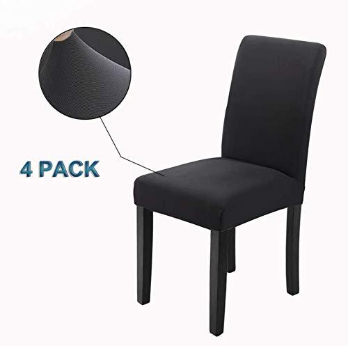 Veakii R Fundas para sillas Pack de 4 Fundas sillas Comedor, Lavable Comedor Asiento Cubre para el Comedor casero Modern Bouquet de la Boda, Hotel, Decor Restaurante(Negro)