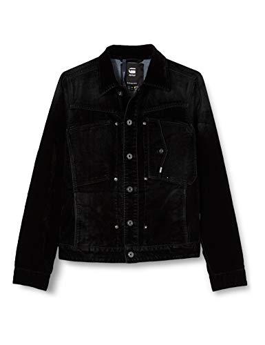 G-STAR RAW Mens Scutar Slim JKT Denim Jacket, Black iced Flock C478-B699, Small