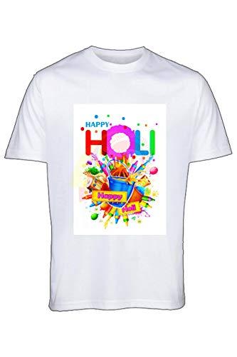 Round Neck Half Sleeve Happy Holi 2020 Printed T-Shirts White