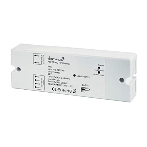 iluminize Funk Dimm-Aktor Universal, 2x 230V, max. 552W, dimmen per Funk mit iluminize Hand-Fernbedienung, Wand-Dimmer, WiFi-Bridge, WICHTIG: nicht Zigbee 3.0 kompatibel (Dimm-Aktor Universal)