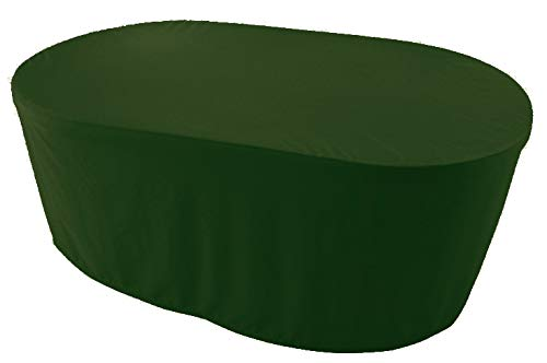 KaufPirat Premium Abdeckplane Oval 200x110x75 cm Gartenmöbel Gartentisch Hülle Abdeckung Haube Schutzhülle Abdeckhaube Olivgrün