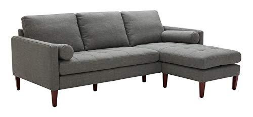 "Amazon Brand – Rivet Aiden Mid-Century Modern Reversible Sectional Sofa (86"") - Dark Gray"