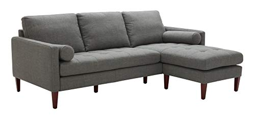 "Amazon Brand – Rivet Aiden Mid-Century Modern Reversible Sectional Sofa, 86""W, Dark Grey - This mid-Century inspired sectional features a reversible chaise to orient the sectional right or left, as well as removable cushions, a hardwood frame and legs, thick foam padding and supple upholstery for a beautiful, durable piece. 86""W x 37""D x 33""H; seat depth 21.7"", seat height 17.7"", total chaise depth 62.6"" Solid hardwood frame, tapered wood legs and foam padding with fabric upholstery. - sofas-couches, living-room-furniture, living-room - 31OHP6EckcL -"