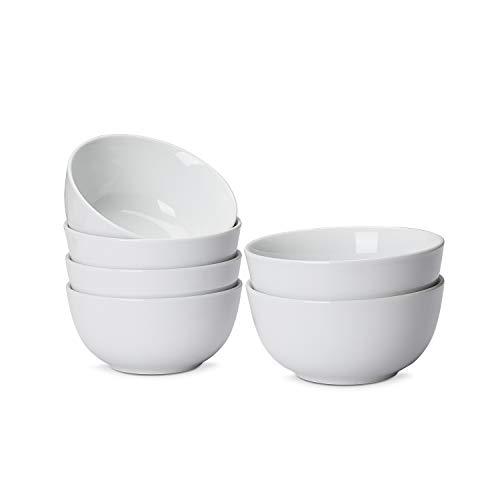 AmazonCommercial Coupe-Schüssel, 6-teiliges Porzellan, 532 ml, Weiß