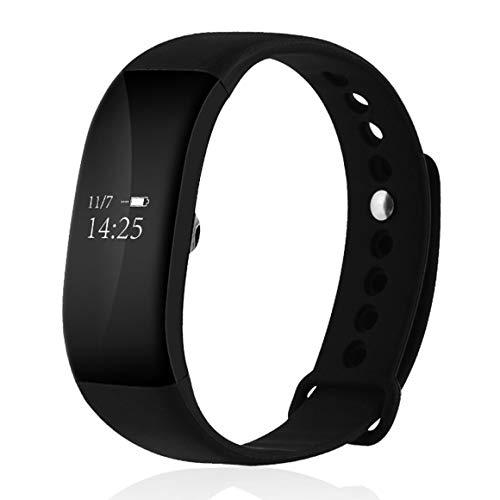 Funnyrunstore V66 Bluetooth Intelligente frequenza cardiaca Intelligente Orologio da Polso Wristband Contapassi Calorie Sonno Monitor Messaggio Call Promemoria (Colore: Nero)