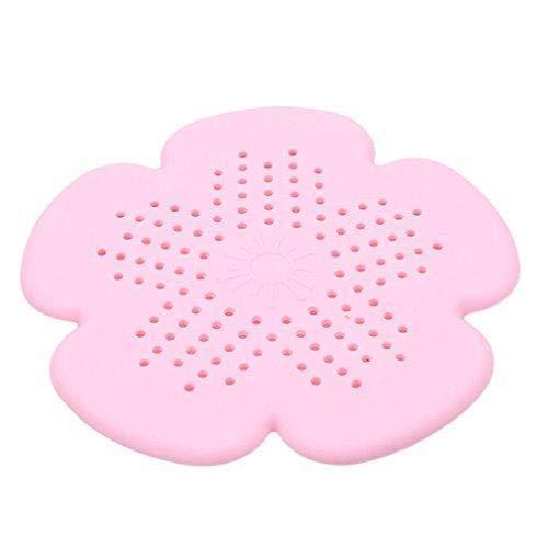 Jeffyo Silikon Blumen Abflusssieb Haarsieb Filter Sieb Küche Badezimmer Waschbecken Dusche Spüle Haare Sieb (Rosa)