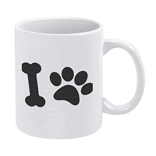 Taza de café para amantes de los perros con pata de hueso de perro, taza de cerámica de 11 onzas, taza para bebidas de té para el hogar y la oficina, cumpleaños, aniversario, Halloween, Navidad, regal
