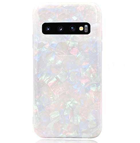 HUIYCUU Case Compatible with Galaxy S10 Plus Case, Glitter Sea Shell Pearl Design Shockproof TPU Soft Matte Cover for Girls Colorful Floral Bumper Back Glossy Case for Galaxy S10 Plus, White