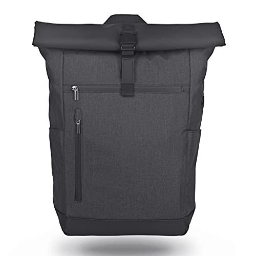 Wenter.S® Rolltop Rucksack großer Kurierrucksack 25L bis 30L Rucksack Uni (anthrazit) für Damen und Herren Backpack mit Rückseitiger Öffnung