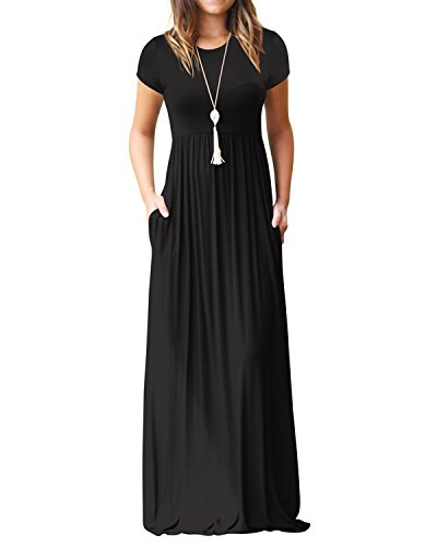 Kidsform Women's Casual Short Sleeve Maxi Dress Loose Long Dresses with Pockets, A-black, L