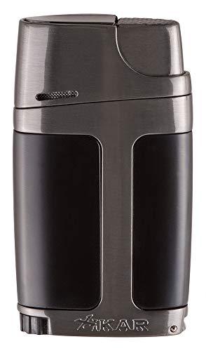 Xikar ELX Double Jet Flame Lighter, Ergonomic Design, Built-in 9mm Cigar Punch, Charcoal