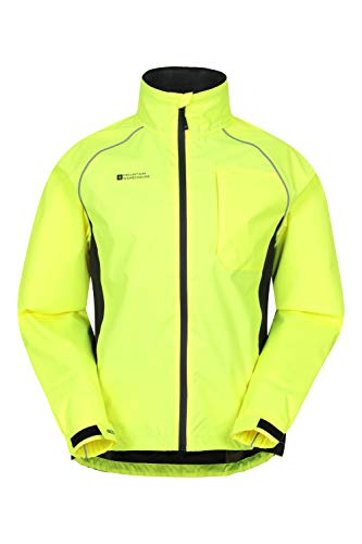 Mountain Warehouse Adrenaline Mens Waterproof Cycling Jacket - Reflective Mens Coat, Breathable Unisex Rain Coat - for Outdoors, Running & Walking Yellow XS