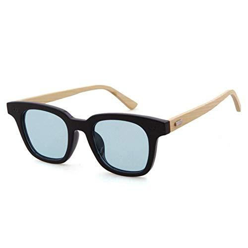 ZZOW Gafas De Sol Cuadradas Vintage De Madera De Bambú para Mujer, Gafas De Sol De Colores Dulces Transparentes A La Moda para Hombres, Gafas De Sol para Conducción Deportiva, Sombras
