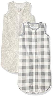 Amazon Essentials 2-Pack Microfleece Baby Sleep Sack, Buffalo Check 0-6M