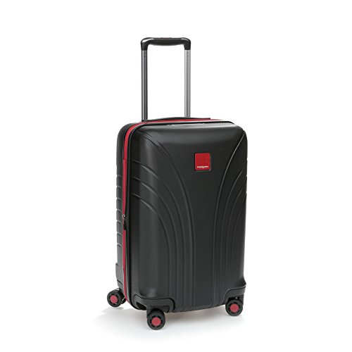 Hedgren Take Off Flight 20' Hard Sided Expandable Spinner Suitcase, Rolling Luggage with Lock and Zippered Mesh Pockets, 22 x 10 x 14 Inches, Unisex, Black/Red Combo