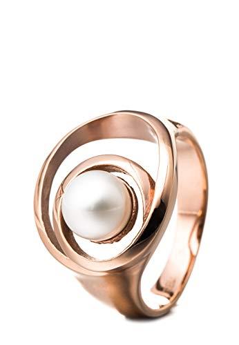 Heideman Ring Damen Perlenring Schlaufe aus Edelstahl Rosegold farbend matt Damenring für Frauen mit echter Süßwasserperle Weiss