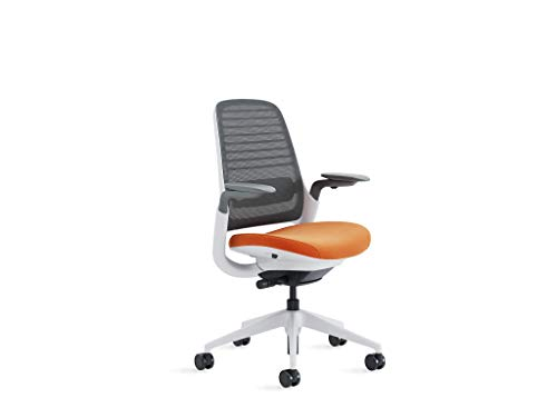 Steelcase Series 1 Office Chair, Carpet Casters, Graphite/Pumpkin