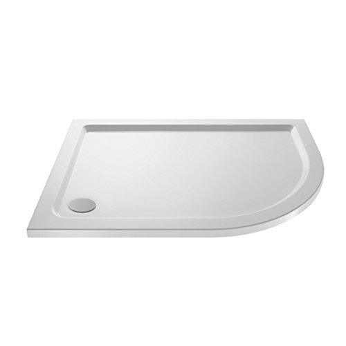VeeBath Space 40mm Slimline Right Hand Off Set Quadrant Stone Resin Shower Tray for Wet Room Enclosure - 900 x 760mm