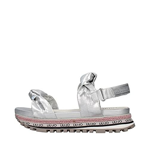 Liu jo girl - wonder 72 laminierte sandale - 34 - argento